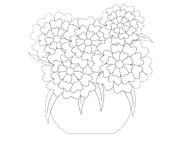 Схема шаблон бумажного букета цветов в вазочке