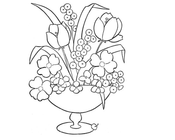 Схема шаблон букета бумажных цветов в вазе