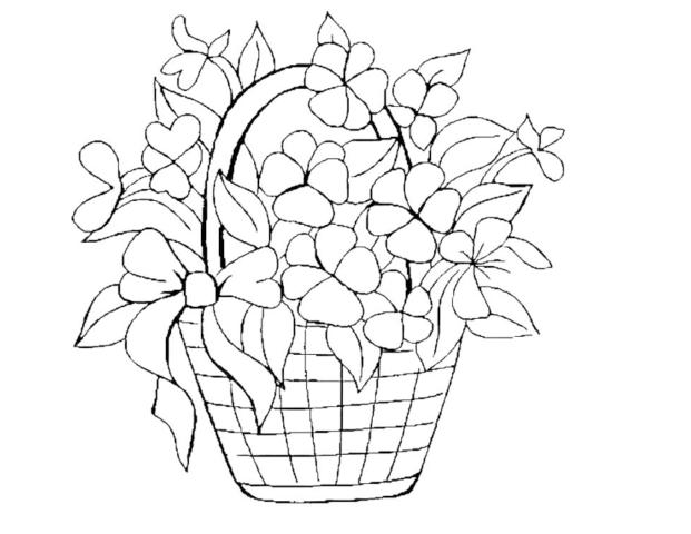 Схема шаблон букета бумажных цветов в корзине