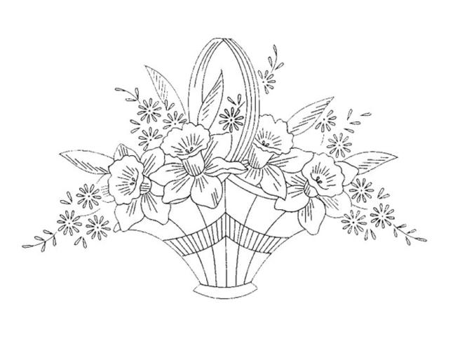 Схема шаблон корзины бумажных цветов