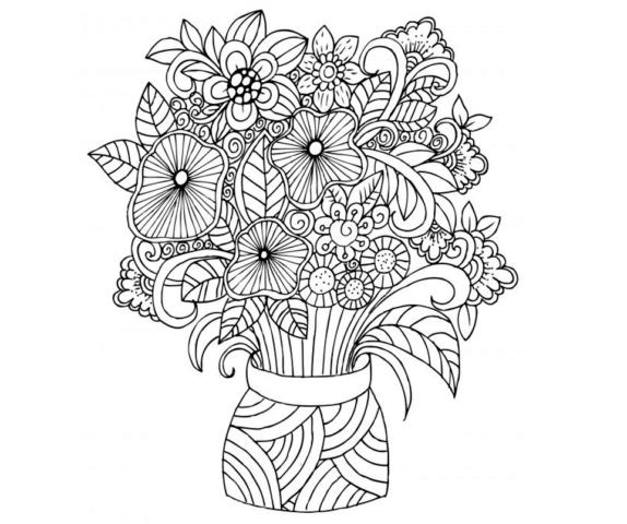 Схема шаблон букета бумажных цветов