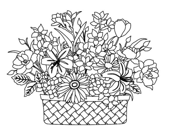 Схема шаблон бумажного букета цветов в плетённой корзине