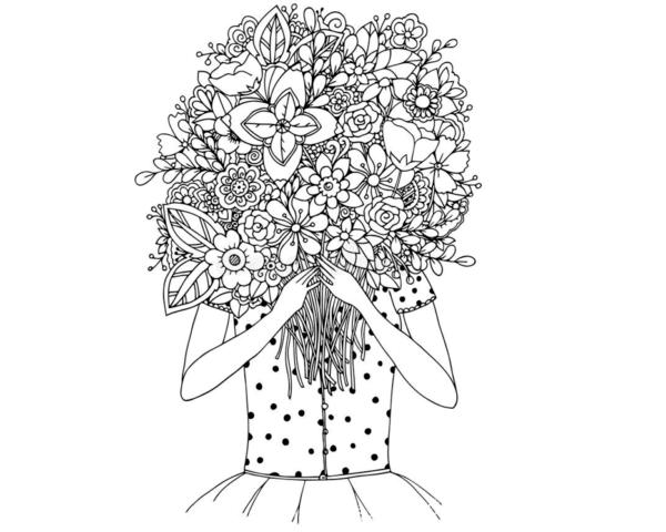 Схема шаблон девушка держит бумажный букет цветов