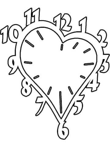 Схема шаблон бумажных часов в виде сердечка
