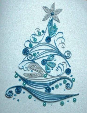 Готовая открытка к Новому году в технике квиллинг