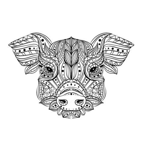 Схема шаблон бумажной головы свинки