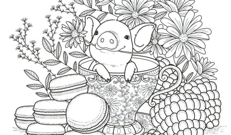 Схема шаблон бумажного поросёнка в чашке с цветами и печеньем
