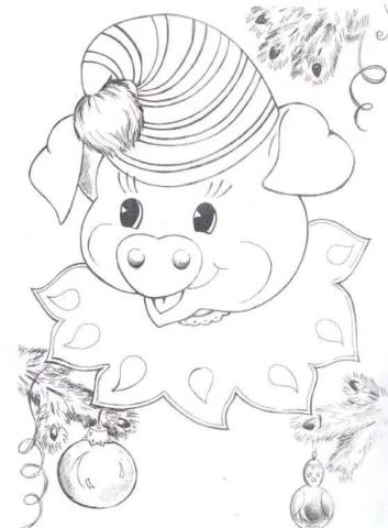 Схема шаблон бумажной новогодней свинки