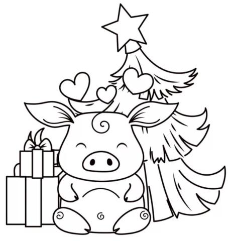 Схема шаблон бумажного новогоднего поросёнка
