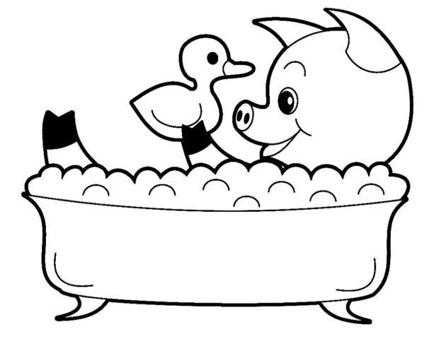 Схема шаблон бумажного поросёнка в ванной