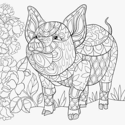 Схема шаблон бумажной цветочной свинки