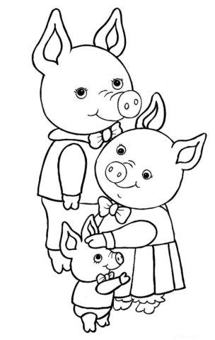 Схема шаблон семьи бумажных свинок Папа свин Мама хрюшка и поросёнок