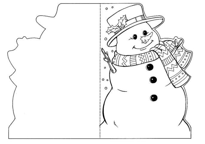 Схема шаблон для изготовления бумажной открытки в стиле технике квиллинга Снеговик