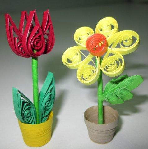 Пример квиллинг цветов в горшке