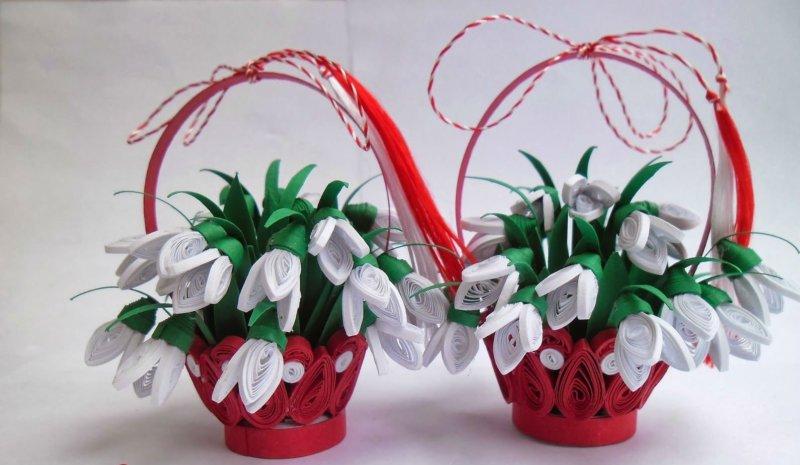 Пример квиллинг цветов в корзине