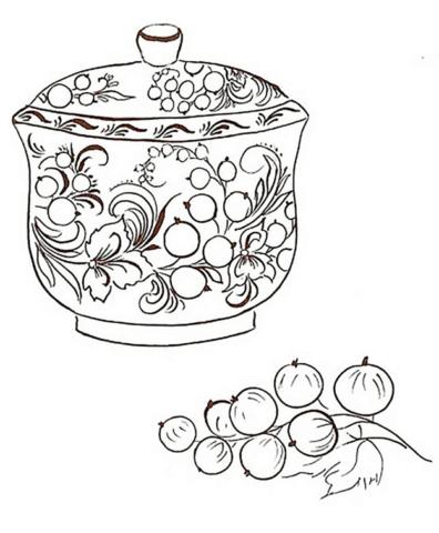 Схема шаблон в стиле хохломы для квиллинга