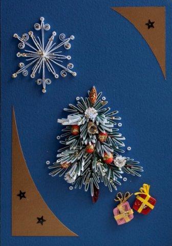 Готовая открытка в технике квиллинг на Новый Год