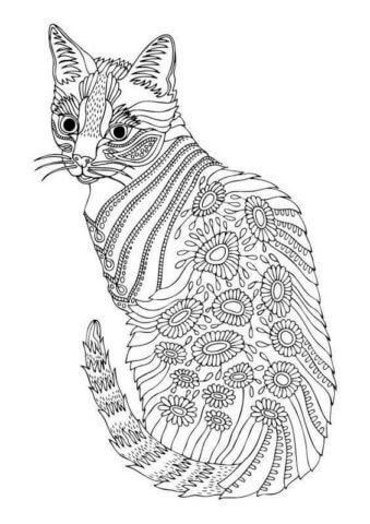 Схема шаблон бумажной кошки