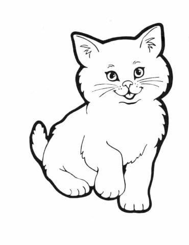Схема шаблон бумажного котёнка