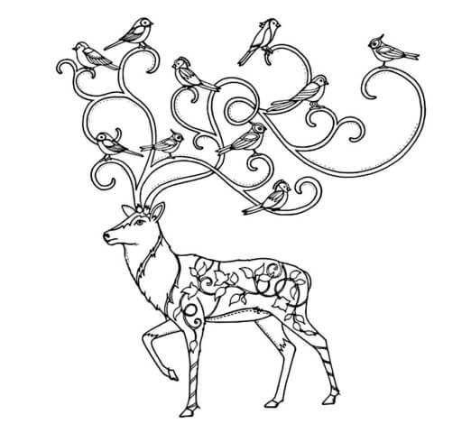 Схема шаблон бумажного оленя