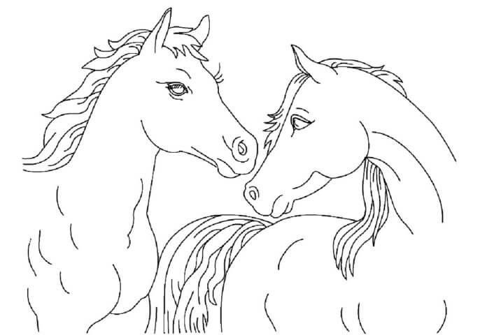 Схема шаблон бумажных лошадей