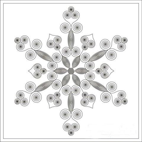 Схема шаблон к новогодней поделке в стиле технике квиллинга Снежинка