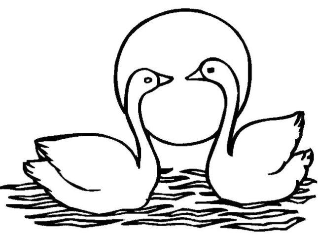 Схема шаблон Лебеди бумажный