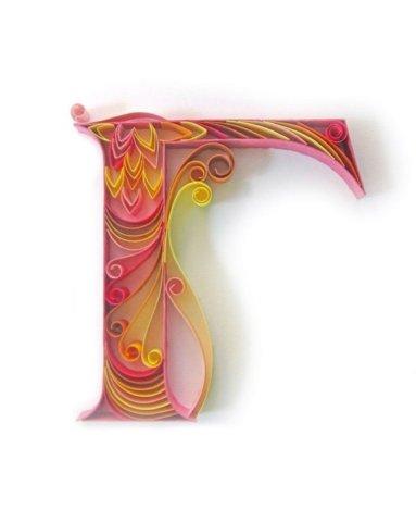 Объёмная бумажная буква Г Русского алфавита в стиле квиллинга