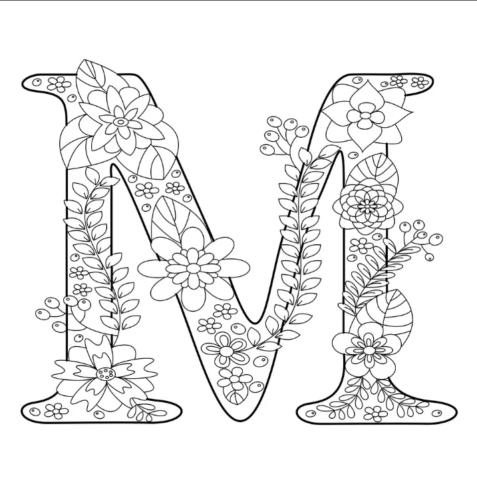 Схема шаблон буквы М русского алфавита