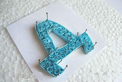 Объёмная бумажная буква Д Русского алфавита в стиле квиллинга