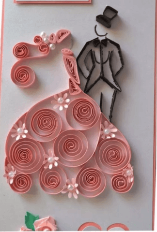 Готовая квиллинг поделка с платьем и смокингом