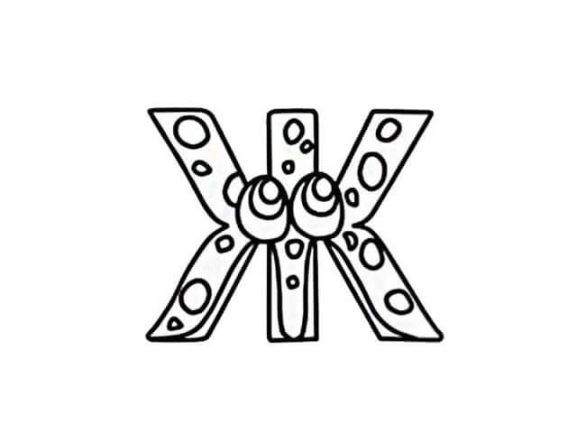Схема шаблон буквы Ж русского алфавита