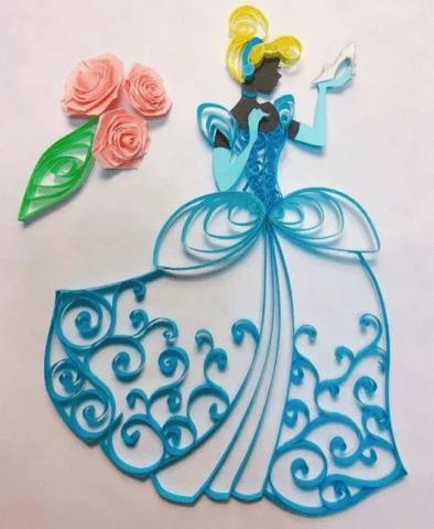 Готовая квиллинг картина с принцессой