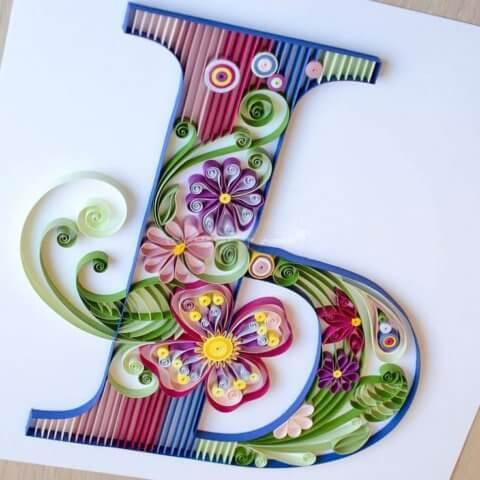 Объёмная бумажная буква Ь Русского алфавита в стиле квиллинга