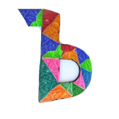 Объёмная бумажная буква Ъ Русского алфавита в стиле квиллинга