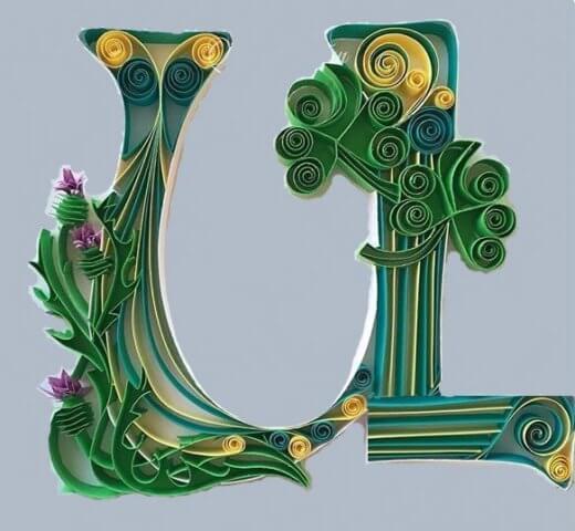 Объёмная бумажная буква Ц Русского алфавита в стиле квиллинга