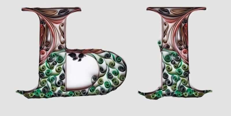 Объёмная бумажная буква Ы Русского алфавита в стиле квиллинга