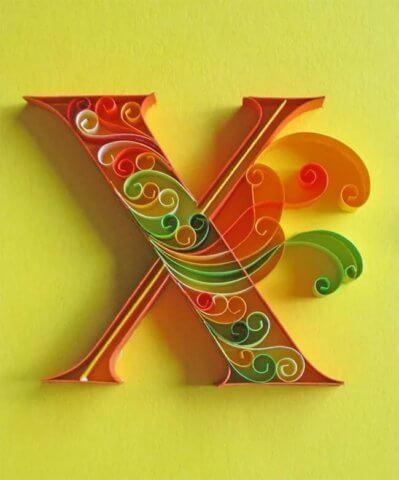 Объёмная бумажная буква Х Русского алфавита в стиле квиллинга