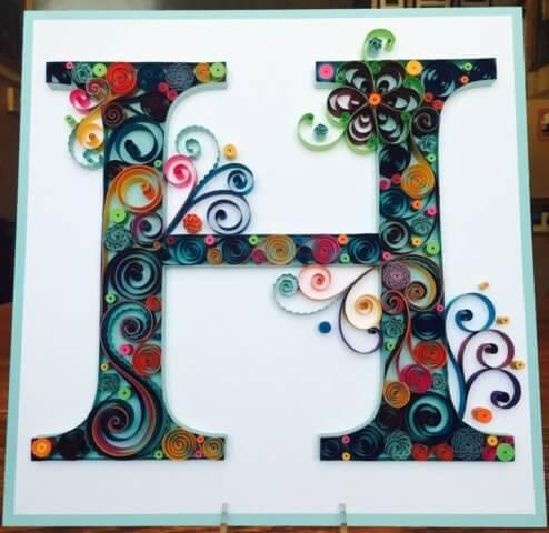 Объёмная бумажная буква Н Русского алфавита в стиле квиллинга