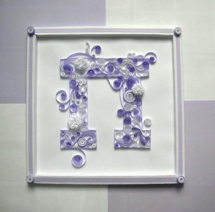 Объёмная бумажная буква П Русского алфавита в стиле квиллинга
