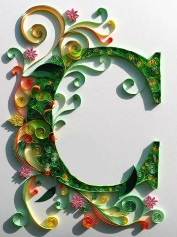 Объёмная бумажная буква С Русского алфавита в стиле квиллинга