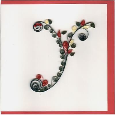 Объёмная бумажная буква У Русского алфавита в стиле квиллинга