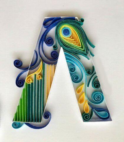 Объёмная бумажная буква K Русского алфавита в стиле квиллинга
