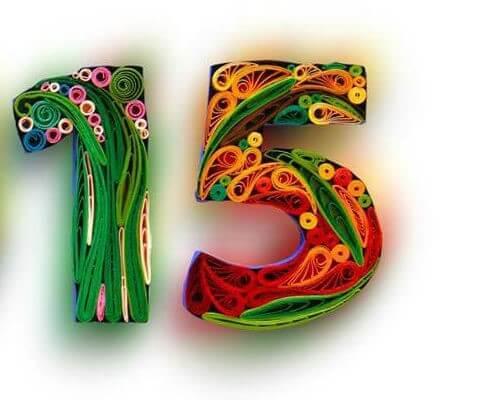 Цифра 15 в стиле технике квиллинга