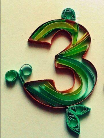 Цифра 3 в стиле технике квиллинга