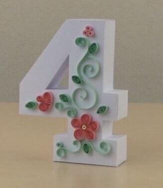 Цифра 4 в стиле технике квиллинга