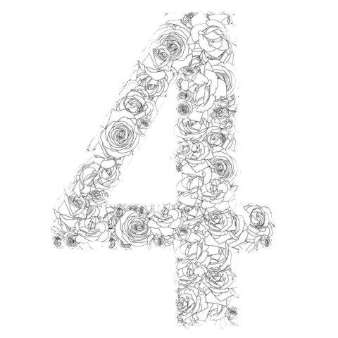 Схема шаблон цифры 4