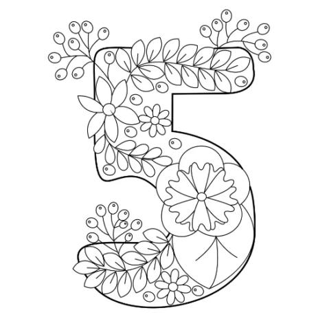 Схема шаблон цифры 5