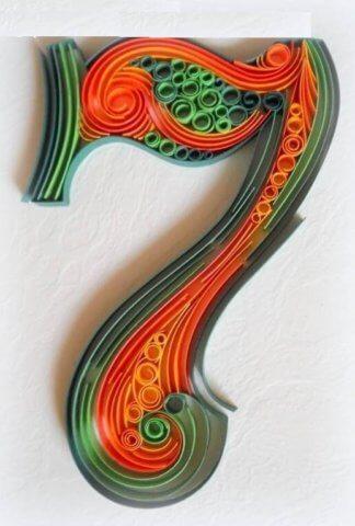 Цифра 7 в стиле технике квиллинга