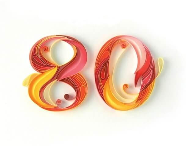 Цифра 80 в стиле технике квиллинга